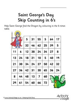 St George's day stepping stones skip counting by 6
