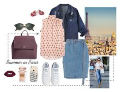 A fashion look from November 2016 featuring tie neck tie, collar jacket and button skirt. Browse and shop related looks. Wall Pops, Paris Summer, Steve J, Button Skirt, Giorgio Armani, Valentino, Ray Bans, Kate Spade, Fashion Looks