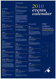 Gallery Events Calendar by Shannon Bayliss, via Behance
