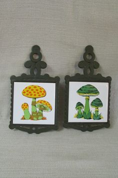 RETRO Set Vintage Green & Yellow Mushrooms Shun Long Tile Cast Iron Trivets by TimeGoneByVintage on Etsy