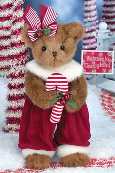 And visions of candy canes dancing in her head. Plush Pepper Minty bear from Bearington Bears is all ready to taste the candy cane she holds. My Teddy Bear, Cute Teddy Bears, Bear Toy, Christmas Themes, Christmas Holidays, Teady Bear, Christmas Teddy Bear, Bear Photos, Bear Wallpaper