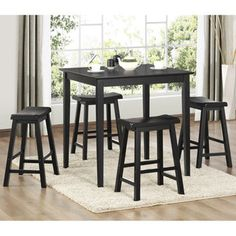 5-piece pub table and chairs for kitchen  Seat dimensions: 18 inches long x 9 inches x 24 inches high Table dimensions: 36 inches long x 36 inches deep x 36 inches high