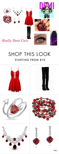 """""""Really Don't Care by Demi Lovato"""" by themortalinstrumentslover ❤ liked on Polyvore featuring Club L, Nly Shoes, Bling Jewelry, Erica Lyons and Glitzy Rocks"""