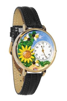 Whimsical Watches Sunflower Gold Leather And Goldtone Watch