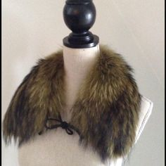 REAL BEAVER Fur Neck Collar/Stole REAL BEAVER FUR! Stunning multi tonal fur collar with black leather ties. Looks great with a dress, sweater or over a coat. Subtle green, grey, Black and Beige coloring. BRAND NEW! Furrier Accessories Scarves & Wraps