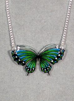 Aqua and Green Butterfly Shrinky Dink Necklace.