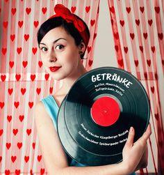 Rockabilly Deko mit Schallplatten