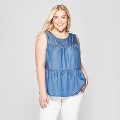 185d81c04a3 Women s Plus Size Tiered Denim Tank Top - Universal Thread™ Medium Wash