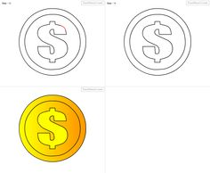 How To Draw Coin For Kids Step By Drawing Tutorial