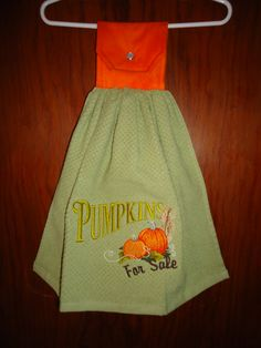 """Embroidered """"Pumpkins for Sale"""" Kitchen Towel by Marshaslilcraftpatch on Etsy"""
