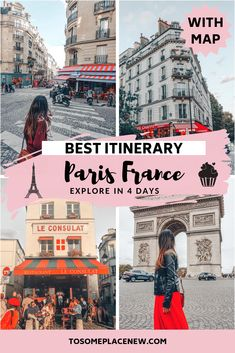 Paris travel guide and Paris itinerary 4 days - Get a Paris itinerary map with first time visitor travel guide and tips. Bucket list ideas and dream vacations for Europe's most visited city - Paris. Paris Itinerary things to do in Paris in 4 days includes places to visit in Paris include Eiffel Tower, the Louvre, Montmartre, Latin Quarter, Seine River. #paris #paristravel #itinerary