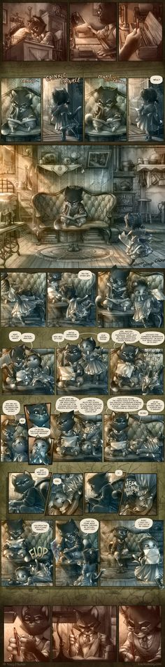 """""""What makes Mordecai smile?"""" Question answered with a comic, by Tracy J. Butler for Lackadaisy."""