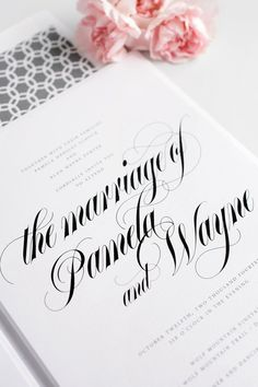 Gray calligraphy wedding invitations | Shine Wedding Invitations