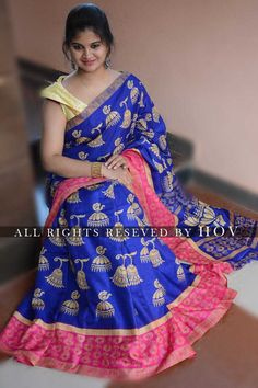 8743dcf7a6f53  Beautiful Handloom Linen Chanderi Sarees With Kalamkari Prints
