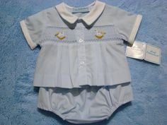 70507698 This adorable hand~embroidered preemie boys cotton blend topper set is a  perfect coming home