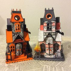 Love creating one of a kind vintage inspired Putz Halloween houses using Tim…