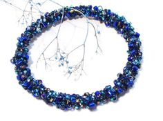 Sapphire Wire Crocheted and Wire Wrapped Goldtone by GirlieGals