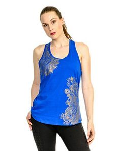 Nadine Metallic Print Racer Tank Top  Sports Tank  Gym Medium Royal ** Check this awesome product by going to the link at the image.