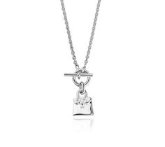 "Birkin Charm Pendant Hermes pendant in silver, 15.75"" long"