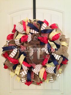 Nautical themed burlap wreath www.facebook.com/wreathstoadoor