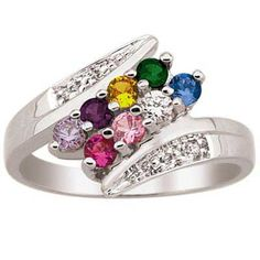 Mother's+Birthstone+and+Diamond+Accent+Bypass+Family+Ring+in+10K+White+or+Yellow+Gold+(2-8+Stones)