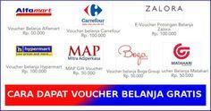 Cara dapat voucher gratis alfamart, carrefour, hypermart, MAP, dll