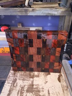 Exotic end grain cutting board, done. Board includes: Black Walnut, African Red Sapele, African Bubinga, South American Chakte Coc, Chechen, and African Wenge. Wood from Woodies Woodshop in Wilmington, NC. Love the selection. End Grain Cutting Board, Wood Cutting Boards, Wenge Wood, Wilmington Nc, Custom Woodworking, Wooden Boxes, Exotic, African, Money
