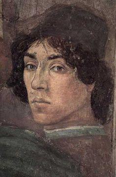1481-82 : Autoportrait de Filippino Lippi (1457-1504), détail d'une fresque de la Chapelle Brancacci, église Santa Maria del Carmine, Florence.