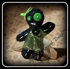 $12.00 Felt handmade barrette-Laddy Skelleton-Gans0003 black green by annatrimmeldesigns