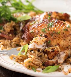 This one pot chicken and dirty rice is a dish washing hater's dream! The chicken is cooked on top of the rice for the most flavorful dish ever! Baked Teriyaki Chicken, Baked Chicken Wings, Baked Chicken Recipes, Crispy Chicken, Chicken Thigh And Rice Recipe, Southern Chicken And Rice, Dutch Oven Chicken Thighs, One Pot Chicken, Chicken Meals
