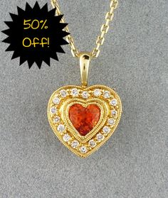 As seen in today's blog, this 14k Diamond and Orange Sapphire Heart Necklace. Style # 37334. Regular Price $2275.00. 50% off price $1137.00.