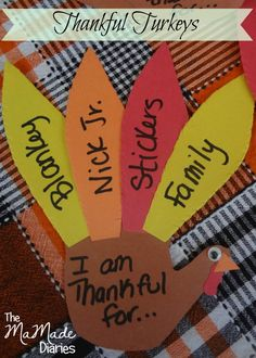 Looking for a cute family Thanksgiving craft? The MaMade Diaries #thanksgivingcraft #craftsforkids #handturkey #turkeycraft