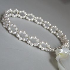 Wedding Ribbon Headband, Swarovski Hair Accessory, Pearl Crystal Ribbon Headband. Pearl Headband with Ribbon
