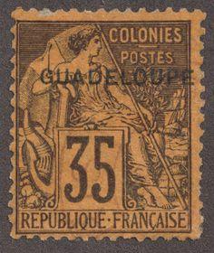 Guadeloupe 1891 Scott 23 35c deep violet/orange