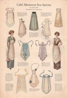 The one the lady is wearing on the left. I have plans for one like that --- 1911 Ladies Home Journal Print Girl's Afternoon Tea Aprons Actresses Dresses Sewing Aprons, Sewing Clothes, Diy Clothes, Ladies Clothes, Ladies Hats, Retro Mode, Mode Vintage, Edwardian Fashion, Vintage Fashion