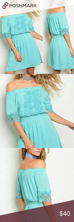🎉CLEARANCE🎉MINT OFF THE SHOULDER DRESS Beautiful and fun Mint off the shoulder dress. Features crochet down the front bodice of the dress and crochet at the sleeves. Elastic waist. 100% Polyester. This dress is also fully lined. Runs true to size. Glamvault Dresses