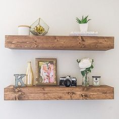 Beautifully handmade floating shelf stained to bring out the character in the wood. This rustic piece is great for living room, bathrooms,