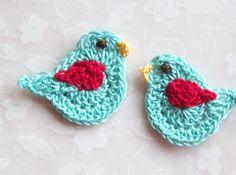 Crochet Bird Appliques---Aqua and Red. $6.00, via Etsy.