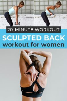 The 8 best back exercises for women! This at home workout uses a set of dumbbells to strengthen the largest muscle in your upper body, your back! Each exercise strengthens and tones the entire back…Plus Good Back Workouts, Lower Back Exercises, At Home Workouts, Gym Workouts, Weight Workouts, Quick Workouts, Fitness Exercises, Dumbbell Back Workout, Emom Workout