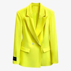 Notched yellow slim full sleeves single breasted pocket office lady blazer female top 130.00 CAD Blazers For Women, Coats For Women, Clothes For Women, Office Ladies, Fashion Outfits, Womens Fashion, Single Breasted, Slim, Coral