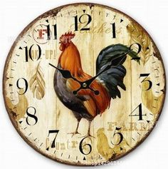 Schmuckbox 14' Antique Style kitchen Clock, 14-inchRooster Vintage Wood Wall Clock (R-46) -- See this awesome image  : home diy wall