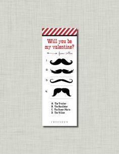 Mustache Valentine Bookmark