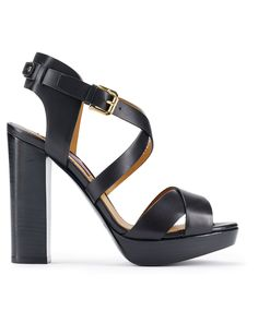 Designed with sleek straps and a chunky heel, this Italian-made Ralph Lauren calfskin sandal strikes the ideal sartorial balance.