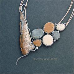 Necklace   Strukova Elena.  Silver, stone and pebble pendant on leather cord.