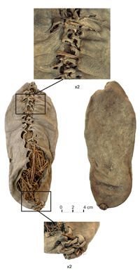 Oldest known well-preserved leather shoe (c. 3500 BCE). The Areni-1 shoe from Areni-1 Cave in Armenia. (View Larger)
