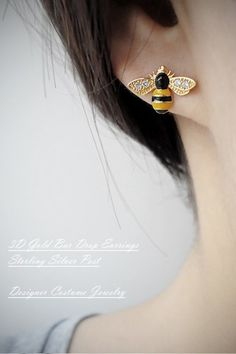 Honey Bee Earrings Bumblee Bee Stud Earrings Busy Bee Jewelry | kellin - Jewelry on ArtFire