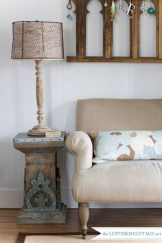 Don't know how to re-create that lamp, but I love it!!!  Southern Cottage | The Lettered Cottage