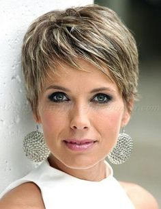 30 Short Pixie Haircuts Trending In A pixie haircut is one of the most beautiful and stylish short women's hairstyle you can see all the time on fashion shows. If you are looking for s., Pixie Haircuts and Hairstyles Short Hair Styles For Round Faces, Short Thin Hair, Short Hair Cuts For Women, Curly Hair Styles, Short Cuts, Curly Short, Short Bangs, Short Styles, Medium Curly