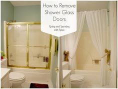 howtoremoveshowerglassdoors - I need to do this and put up a curtain.  So much cleaner.