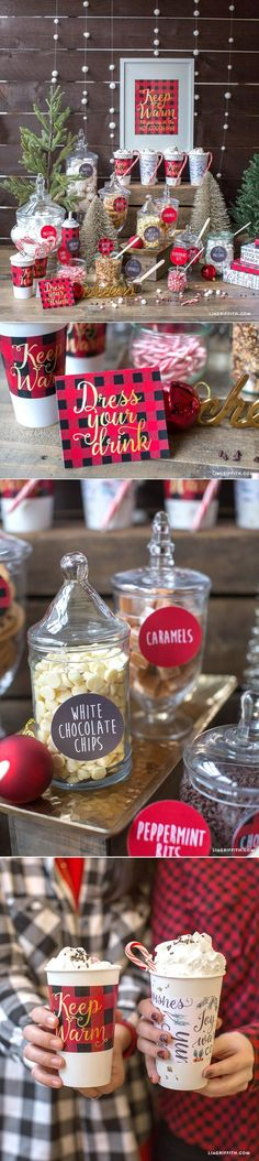 Host a cozy, sweet hot cocoa bar. Perfect party idea for the holidays or a brisk winter day.